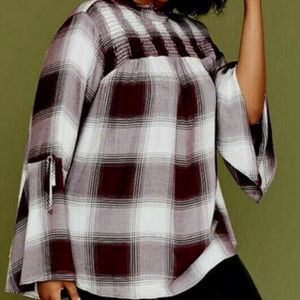 Lane Bryant Tops - LANE BRYANT 22 3X Top Tunic Shirt PLAID Bell Slv